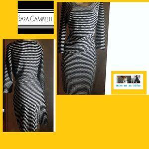 Sara Campbell  NWOT Black White Ruched Dress L